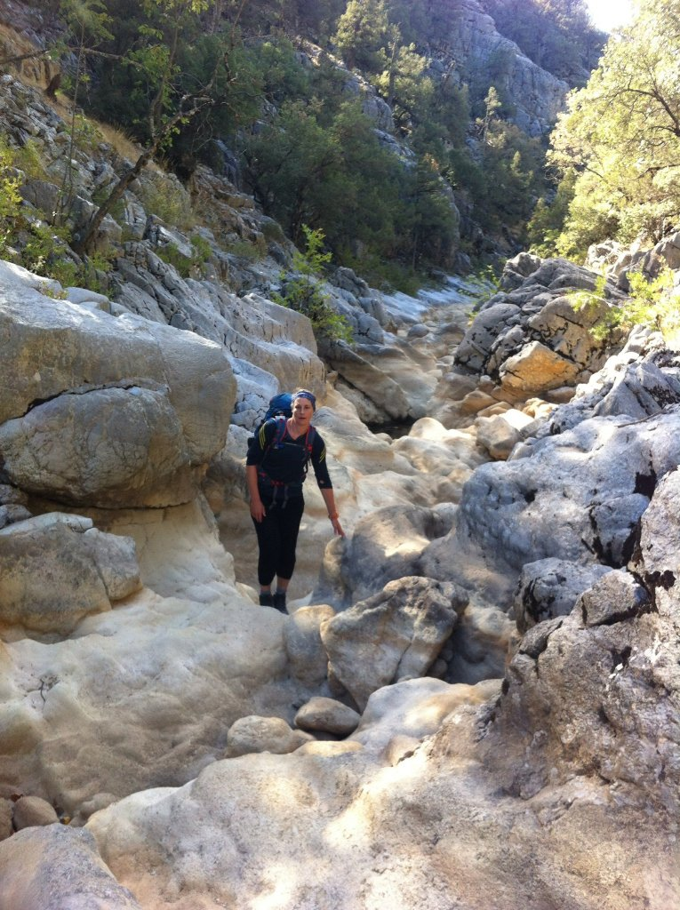 Walking up a gorge on The St Paul Trail in Turkey